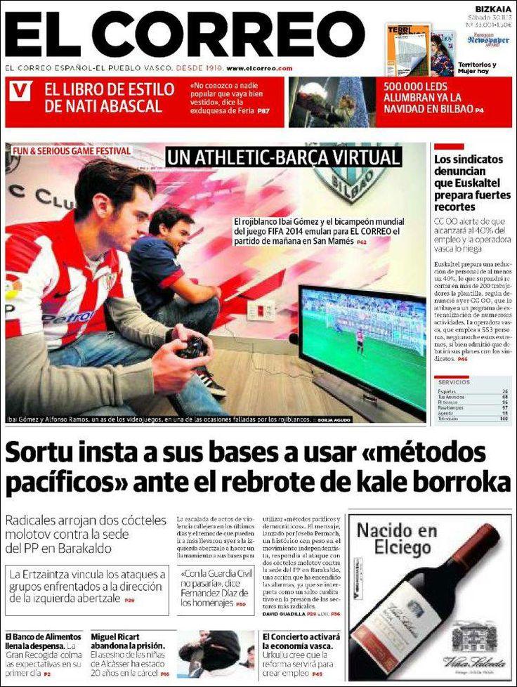 Los Titulares y Portadas de Noticias Destacadas Españolas del 30 de Noviembre de 2013 del Diario El Correo ¿Que le pareció esta Portada de este Diario Español?