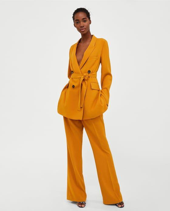 Image 1 of LONG BLAZER WITH BELT from Zara