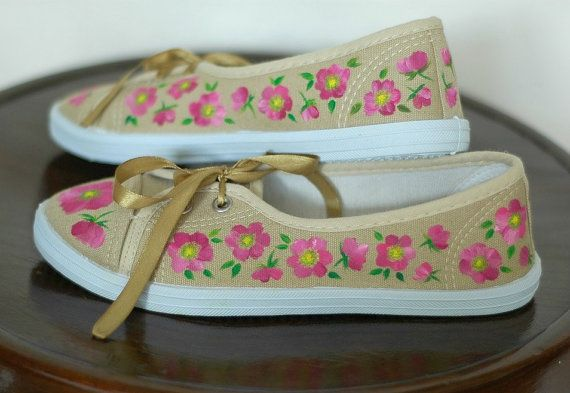 Hand painted sneakers, size 36, wild roses
