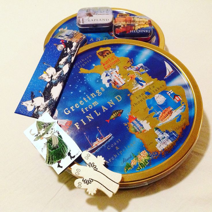 Greetings from Finland.  #Finland #Moomins #Finnish #Lapland #map #cookies #tin #souvenier #greetings #gifts #giftideas #giving #travelling #arrivals #guest #abroad