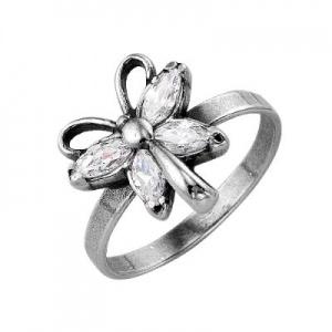 Кольцо 388 Основа - мельхиор, серебрение Вставка - фианит
