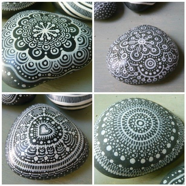 Use white paint on dark rocks. Makes a sort of lace doily effect. Spray with a sealer so painting will last outside.