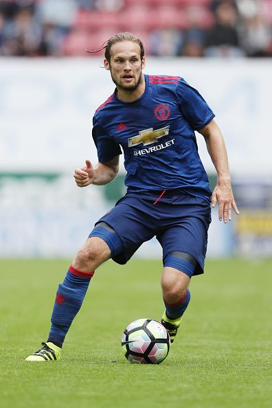 Daley Blind of Manchester United during the preseason friendly between Wigan Athletic and Manchester United at JJB Stadium on July 16 2016 in Wigan...