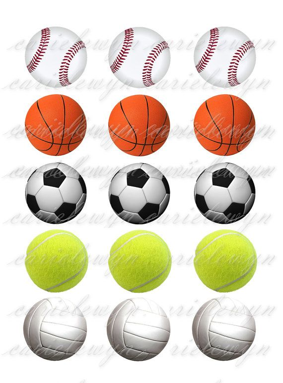 balls sports volleyball baseball basketball printable bottle cap soccer inch collage tennis bottlecap circles coloring pages digital instant visit