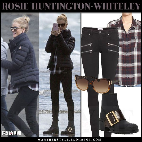 Rosie Huntington-Whiteley in navy jacket, skinny jeans and black buckle boots