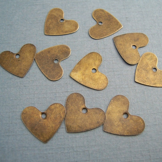 Heart Charm Antique Bronze Metal Charms CH13 20 PCS by Weeds, $4.00