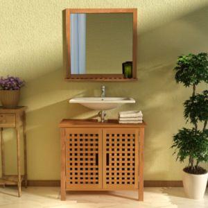 Skříňka pod umyvadlo se zrcadlem, masivní ořechové dřevo