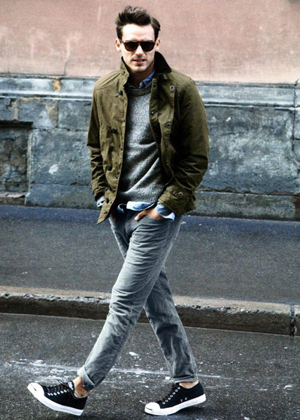Men's Olive Field Jacket, Grey Crew-neck Sweater, Blue Long Sleeve Shirt,  Grey Jeans | Gray jeans, Style men and Street style men