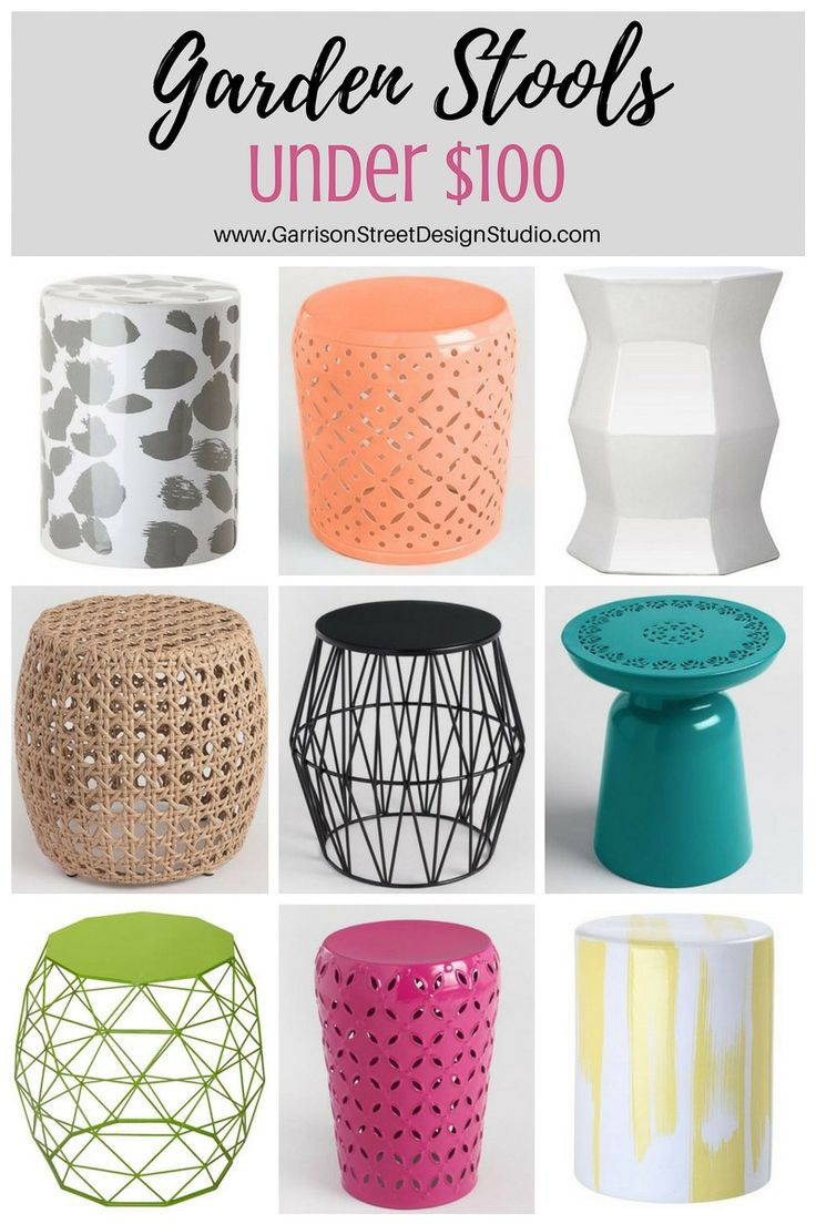 Friday Favs | Garden Stools | Garrison Street Design Studio | Garden Stool Roundup | Garden Stools Less than $100 | Decor | Patio | Outdoor | Side Table | Plant Stand | Ceramic | Metal | Wicker | Bedroom | Bathroom | Porch | White | Green | Pink | Black | Coral | Orange | Yellow | Gray | Lime | Teal | Shower | Cheap | Entryway | Garden Stool Ideas | Home Decor | Drum Stool | Modern Garden Stools | Target | World Market | Colorful | Extra Seating | Modern | Traditional | Funky | Bold