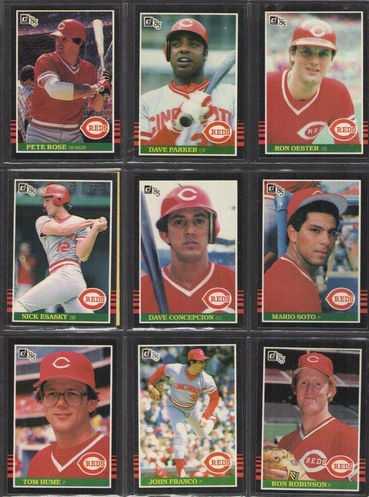1985 cincinnati reds donruss baseball card lot of 9 pete