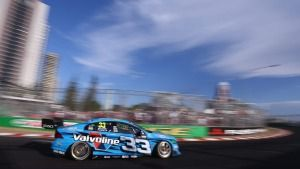 Scott McLaughlin in the Volvo going around at the Gold Coast 600 on Sunday during the V8 Supercar race.