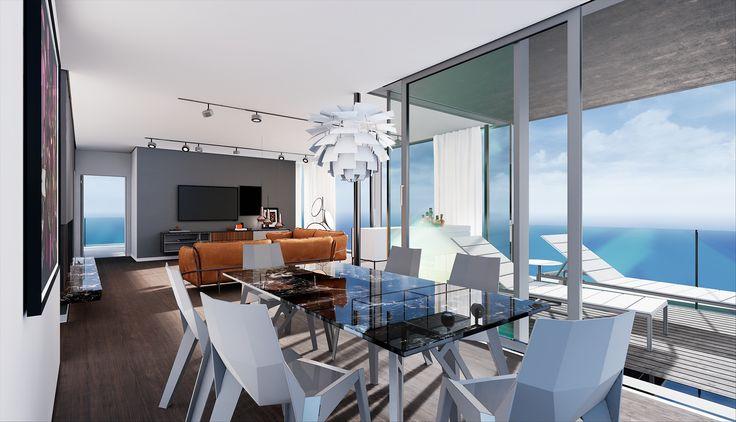 ArchViz for Virtual Reality – Dining Room Penthouse Munich | Architekturvisualisierung für Virtual Reality – Esszimmer Penthouse München | raumdichter