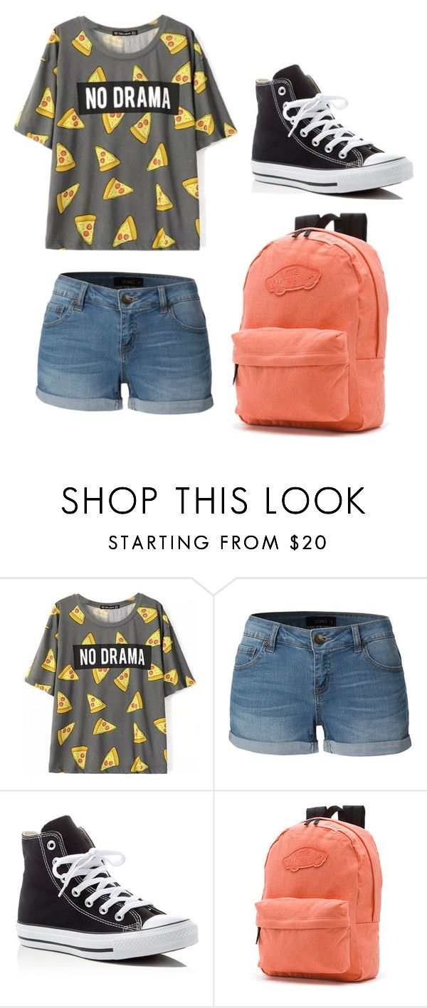 """Casual/School"" by midnightadventures ❤ liked on Polyvore featuring LE3NO, Converse and Vans"