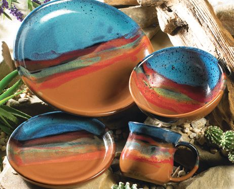 Western Azul Scape pottery dinnerware place setting