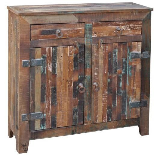Vintage Reclaimed Wood Paneling 2 Door 2 Drawer Sideboard