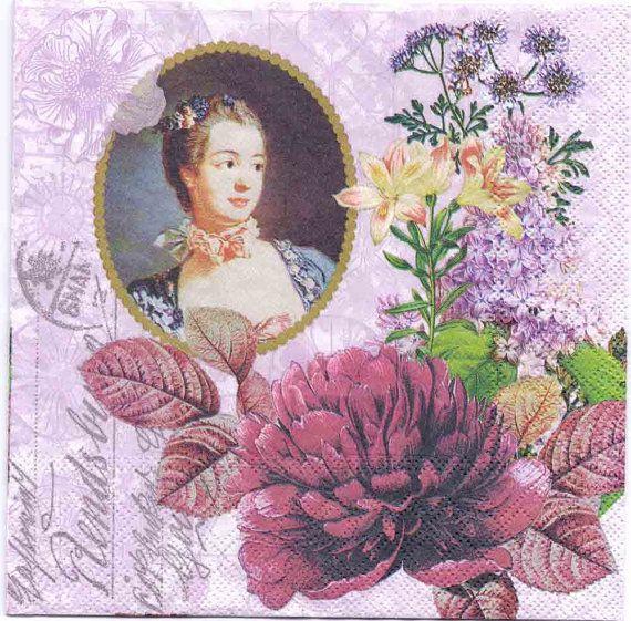 Decoupage Napkins  Flowers of Madame Pompadour  Floral