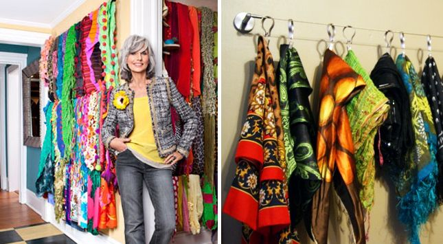 Curtain Rod Scarf Holder (storage) | Brilliant DIY Organization Hacks