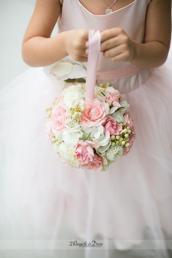 Flower girl pomander ball for a blush and gold wedding