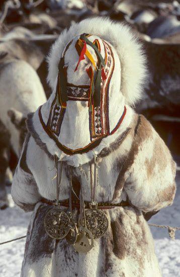 Decorative details on the back of a Nenets woman's reindeer skin coat. Siberia, Russia. inuit eskimo fur costume