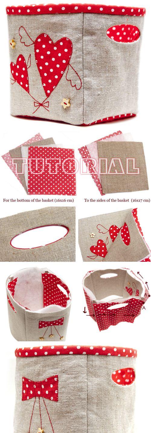 Fabric Storage Basket Bag with Handles DIY Tutorial http://www.handmadiya.com/2017/01/fabric-storage-basket.html * Caixa organizadora tecido DIY