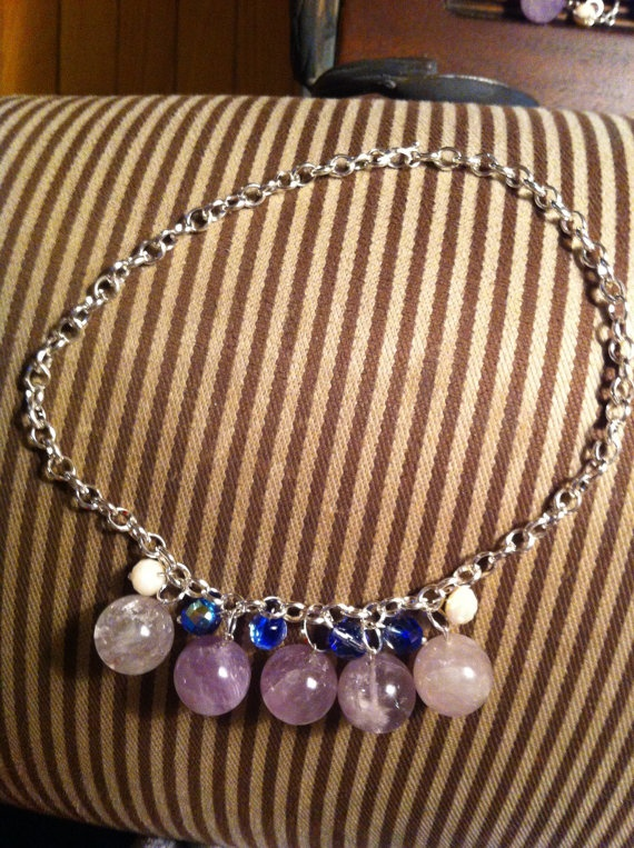 Gorgeous silver plated amethyst necklace by SapphiresandSilver. 20%, only $39.99 until Mother's Day! Deal of the Week!