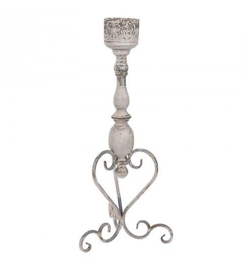 METAL CANDLE HOLDER IN ANTIQUE CREAM_GREY COLOR 24X21X55