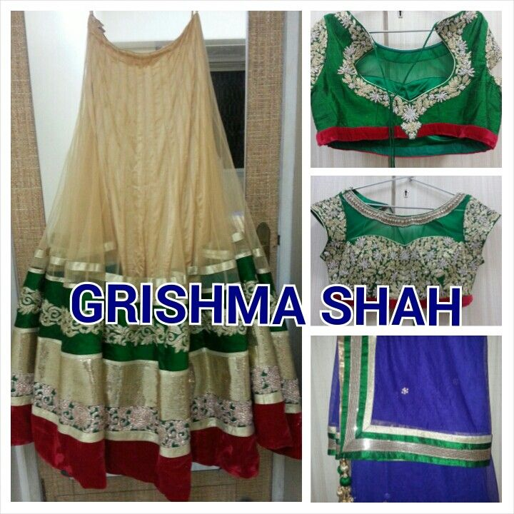 Lehenga choli, green cream.stylish, elegant, classy, beautiful. Perfect for bridesmaid. For details email sweetgrishy@yahoo.co.in
