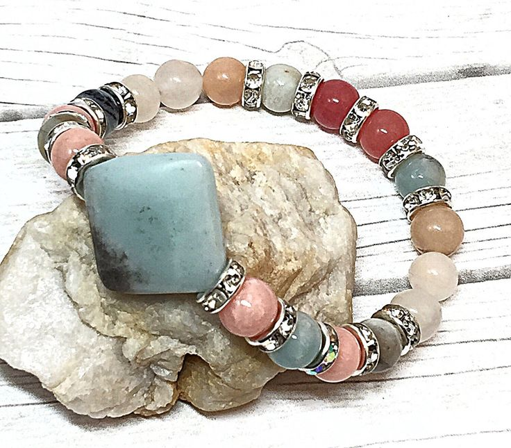 Easter Gift - Stretch Boho Bracelet - Amazonite Bracelet - Rustic Bohemian Bracelet - Pink Jade Bracelet - Genuine Gemstone Bracelet