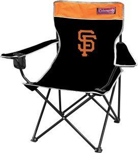 San Francisco Giants Official MLB 29 inch x 11 inch x 34 inch Fold Out Tailgate Chair  https://allstarsportsfan.com/product/san-francisco-giants-official-mlb-29-inch-x-11-inch-x-34-inch-fold-out-tailgate-chair/  Coleman Quad Chairs The quality Coleman branded quad chair is perfect for picnics, camping, tailgating or any other activity. It features a built in mesh cup holder, features your favorite teams color and logos and comes with a team logo carry case. Weight rating 225