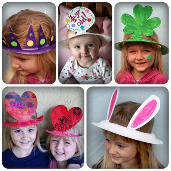Gorros para fiestas con platos de papel - Party hats with paper plates