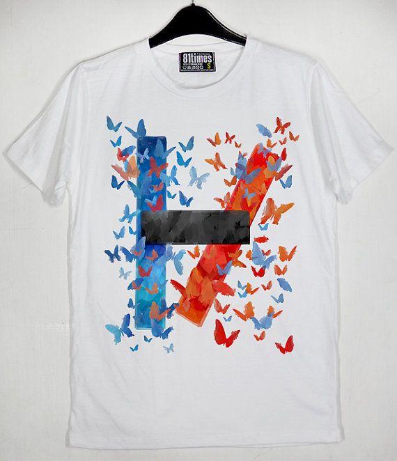 Logo Twenty One Pilots Multi Coloured Butterfly Tyler Joseph Josh Dun Vessel Unisex Cotton White CL T-Shirt S-XXL