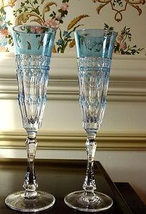 Varga Crystal Champagne Flute, Pair of Glasses Barcelona Sky Blue