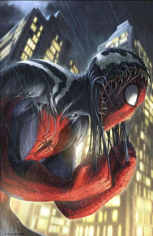 Homem Aranha e o Simbionte Venom.