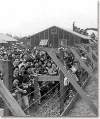 Japanese Americans at a government-run internment camp during World War II.