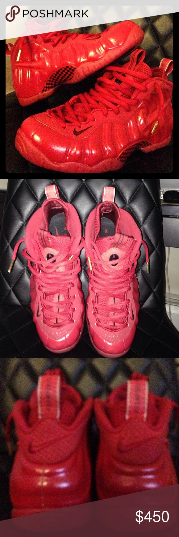Nike 'Red October' Yeezy Foamposite Pre-owned Premium Consignment. Triple Gym Red, Gold Tassel w/ Red & Black Carbon Fiber Siding. Men's size 9.5. Authentic Nike. Includes OG Box (no lid & damaged) Nike Shoes Sneakers