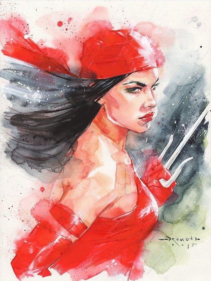 Leituras de BD/ Reading Comics: Ilustração: Elektra por Ricardo Drumond