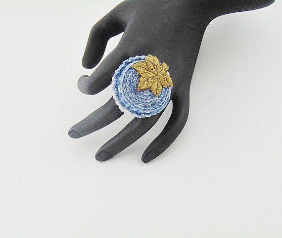 leather denim ring leather denim jewelry denim ring by styledonna
