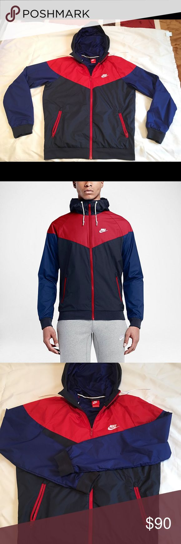 Nike men's sportswear windrunner jacket sz M red Nike men's sportswear windrunner jacket size Medium. red, blue. In excellent pre- owned condition. Worn twice. Like new!  Thanks for looking! Nike Jackets & Coats Windbreakers