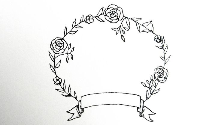 how to draw a flower wreath