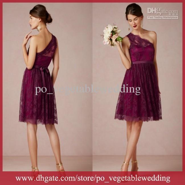 Vintage Lace One-Shoulder A-Line 2014 Knee-Length Dress - Comes in Dark Navy