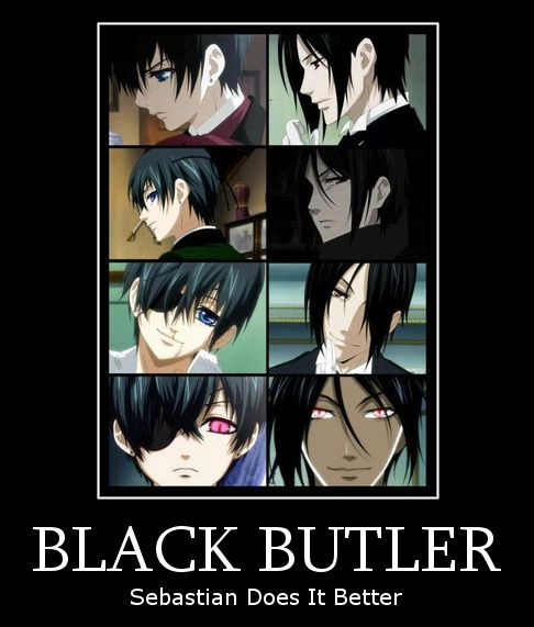 Black Butler - I think it's a tie... :)---->>WRONG!!!! Sebby is just mimicking Ciel. As an emotionless demon, he only has feelings of greed, gluttony, selfishness, and lust and bunch of other bad things. He is really just a projection of what Ciel wants...so the yaoi and over sexiness makes sense....