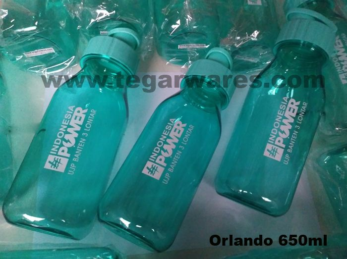 Orlando waterbottles capacity 650ml blue.  Also available:red, purple, black, and orange Tegarwares a leading wholesalers of waterbottles specialize for gimmick and corporate souvenirs, which design,model and price can be adjusted to your budget and requirement. as shown above Orlando drinkin bottles 650ml blue with branding logo one color ordered by PT Indonesia Power UPJ Banten 3 Lontar Kronjo Tangerang Banten Indonesia, a subsdiary of PT Pembangkit Listrik Negara (PLN).