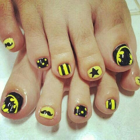 #batman #pedicure #design @Charlene Schrock you shoulda done this today...