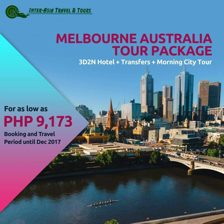 MELBOURNE AUSTRALIA PACKAGE  Inclusions : -2 Nights Accommodation -Return Airport (Intl) Transfers – SIC -Magnificent Melbourne Morning City Tour  Visit our website at www.interasiatravelandtours.com for details and more packages.   #InterAsiaTravelandTours