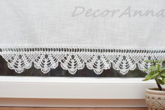 Shabby Chic Gardine Landhausgardine Scheibengardine Mit Etsy Shabby Chic Curtains Drop Cloth Curtains Handmade Lace