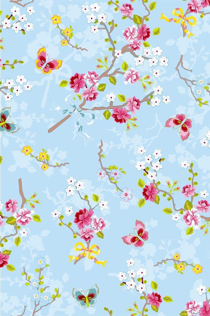 PiP Chinese Rose Blue wallpaper