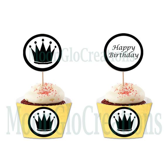 Princess cupcake toppers . Happy Birthday by MoonGloCreations