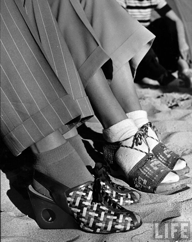 life magazine 40s wedge sandals shoes pumps with socks vintage fashion style photo print