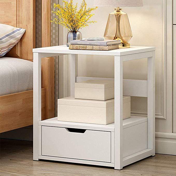 Amazon Com Small Nightstand 2 Tier Storage Locker Bedroom Night