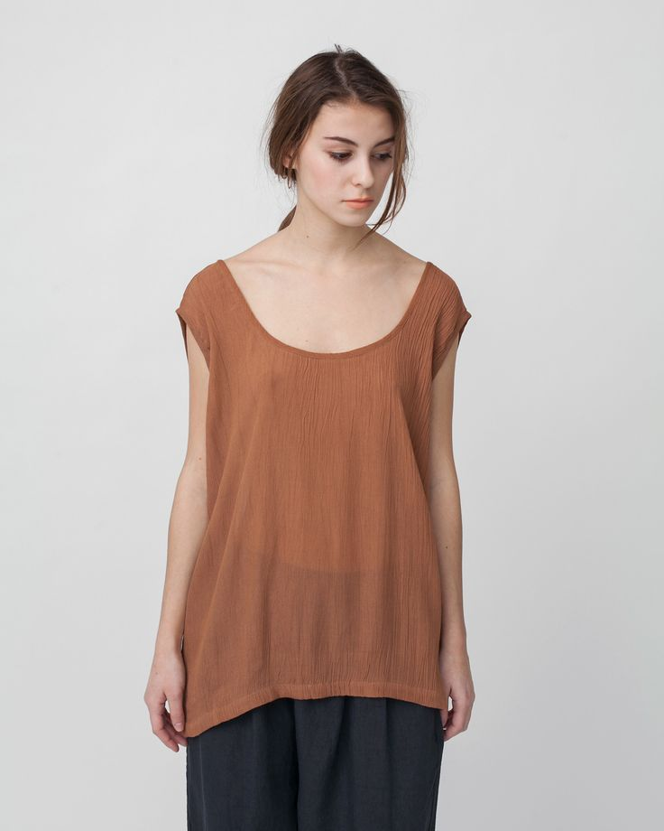Crushed Cotton Tank in Sienna